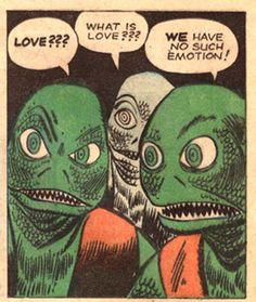"""What is love??"" ask the lizard people (vintage comic)"