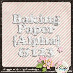 free Baking Paper Alpha perfect for digital scrapbooking from Akizo Designs