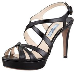 Prada Patent Saffiano Leather Sandal, Black