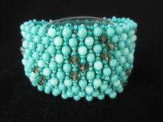 Mermaid Tales Bracelet by でれでれ DereDere Jewellery. Embellished net with Czech and Miyuki beads