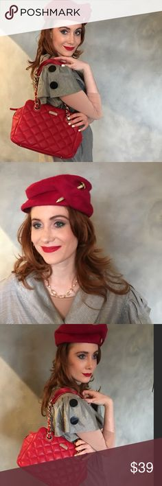 Vintage Red Felt Hat A stunning , 100% wool, red hat by Melosie for Henry Pollok. A true vintage, I believe from the 50's. Need a very small repair that can easily be done. Vintage Accessories Hats