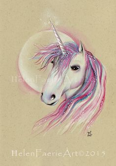 Small Print (5 x 7 inches) 'Unicorn Moon' From my original pencil drawing, Unicorn, Mythical creatures, Pink, Moon by HelenFaerieArt on Etsy