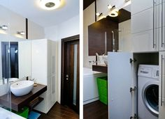 Clever Storage Setting Of Modern Apartment In Odessa Bathroom Involving White Cabinet To Hide The Washing Machines