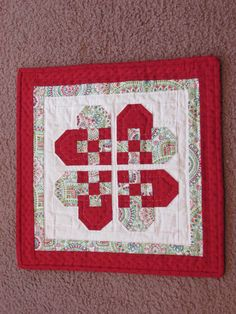 Swedish heart quilted wall hanging