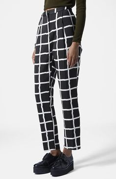 Topshop Windowpane Peg Trousers available at #Nordstrom