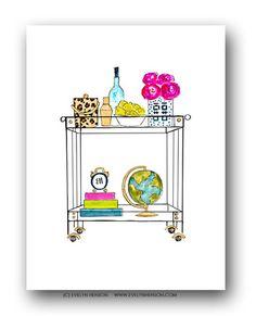 Evelyn Henson   Lucite Bar Cart