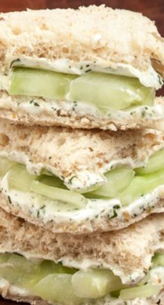 Lemony Cucumber Cream Cheese Sandwiches::
