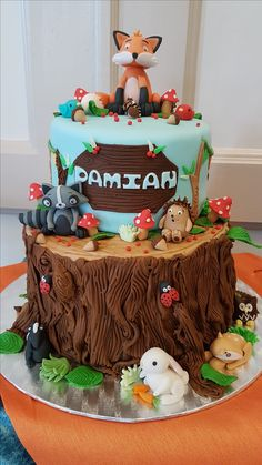 Woodland themed baptism cake for my son! I went untraditional! Didn't really care for the sleeping naked baby baptism cakes.