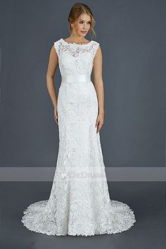 Lace Bateau Neckline and Satin Belt Wedding Dresses 8cf145f13c84