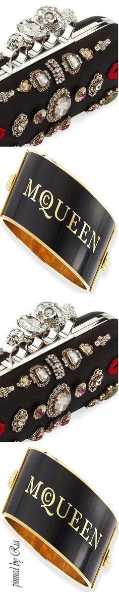 Alexander McQueen Large Logo Cuff Bracelet with Embroidered Knuckle Box Clutch Bag l Ria