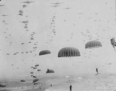 September, Parachutes open as waves of paratroops land in Holland during operations by the Allied Airborne Army. Operation Market Garden was the largest airborne operation in history, with some troops landing by glider and another by parachute. World History, World War Ii, Ww2 History, History Pics, History Online, Holland, Airborne Army, Historia Universal, Skydiving