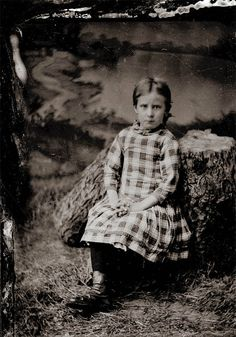 vintage photo Sweet Little Girl Plaid Dress Backdrop by maclancy