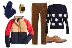 J.Crew Alpine Puffer in Colorblock, $239.99, available at J.Crew Factory; House of Holland Starburst Lurex Sweater, $416.68, available at ASOS; Patagonia Women's Fitted Corduroy Pants, $89, available at Patagonia; Bop Basics Cashmere Pop Top Mittens, $65, available at Shopbop; Nixon The Re-Run, $125, available at Nixon; Need Supply Sydney in Camel, $58, available at Need Supply.