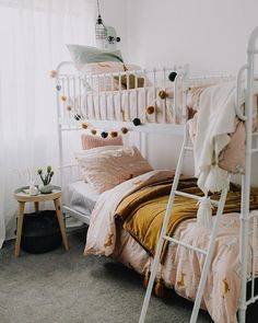 Boho bunkbeds in white with pink and gold accents are simply sweet for a girl's . Boho bunkbeds in white with pink and gold accents are simply sweet for a girl's room! Bunk Beds For Girls Room, Bunk Bed Rooms, Little Girl Rooms, Girls Bedroom, Shared Girls Rooms, Kids Rooms, Cute Rooms For Girls, Modern Girls Rooms, Childrens Rooms