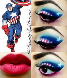 Captain America Eyeshadow. IG: @BeautyByBrinaa