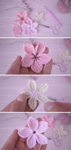 So today we got Free Crochet Sakura Flowers Pattern. You will need some simple crochet knowledge to make those beautiful crochet creations! Diy Embroidery Flowers, Simple Embroidery, Embroidery Patterns Free, Broderie Simple, Diy Broderie, Crochet Flower Tutorial, Easy Crochet Flower, Free Crochet Flower Patterns, Crocheted Flowers