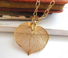 Vintage Gold Dipped Real Organic Leaf Pendant Chain Necklace Estate Jewelry