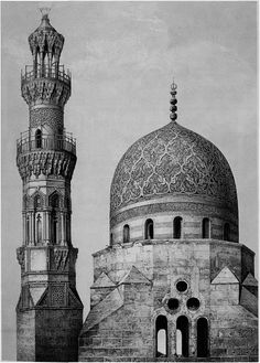 Dome and minaret of Khayr-Bek, 16th century. Prisse discusses this essentially Mamkike design as an anomaly. Although Emir Khayr-Bek betrayed Sultan al-Ghuri and cooperated with the Ottomans, for which he was favored with the governorship of Egypt, opportunism did not Override his aesthetic sensibilities.