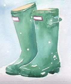 Watercolor rainboots