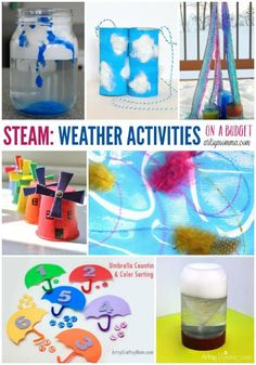 on a Budget – 50 Creative Weather Activities STEM on a Budget: Creative Weather Activities for kids of all ages!STEM on a Budget: Creative Weather Activities for kids of all ages! Weather Activities For Kids, Teaching Weather, Preschool Weather, Weather Crafts, Weather Science, Weather Unit, Weather And Climate, Science Activities, Science Experiments