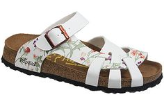 Pisa Soft Footbed Simply Flowers White/White Birko-Flor The footbed of this unique style is layered with a dense foam to give you cushioned comfort all day. It is wonderful for sensitive feet. The curved strap and woven design hug your feet and the footbed supports your arches. Resoleable. #birkenstock #birkenstockexpress.com  $99