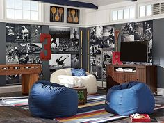 I love the PBteen Relaxed Beanbag Lounge on pbteen.com love the collage of black and white photos on the wall of different sizes  like the white bean bag and the dark gray walls, and the navy, could also see the zio collection too in this room. jps