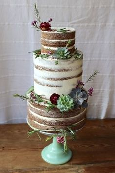 Naked/Semi-Naked succulent three tier Wedding Cake by www.hackneyyolk.com