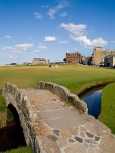 Golfing the Swilcan Bridge on the 18th Hole, St Andrews Golf Course, Scotland Photographic Print by Bill Bachmann at AllPosters.com