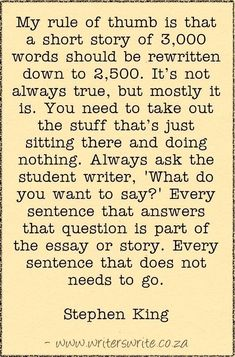short story essay topics Stephen King On Writing Short Stories - Writers Write - good words . Book Writing Tips, Creative Writing Prompts, Writing Words, Fiction Writing, Writing Resources, Teaching Writing, Writing Skills, Short Story Writing Prompts, Quotes About Writing
