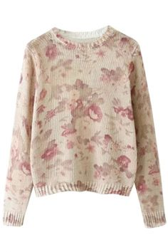 Suble Floral Print Pullover Ribbed Sweater