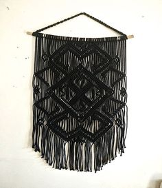This luxury black modern macrame wall hanging was inspired by success of this pattern I have been creating. Hundreds of people from all over the world fell in love with it so I am happy to present it in the new color. I call this macrame hanging The BLACK PEARLE, as it gives you a feeling of the nobility and luxury. I imagine this macrame decor on the wall right on the top of your bed, bringing a boho touch to your bedroom. But its not only that. This macrame wall hanging, just as well as…