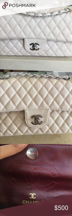 Double flap bag 💕💕💕 must have it 💁🏽 This is an inspo handbag, great to hung out, please make an offer, color beige and silver, match with everything 🤗 CHANEL Bags