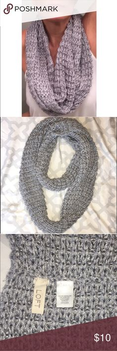 LOFT Metallic Infinity Scarf Silver Ann Taylor LOFT Chunky Infinity Scarf, Slightly Pulled In Some Areas But Hardly Noticeable, No Rips Or Tears (Box #1) LOFT Accessories Scarves & Wraps