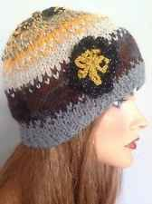 Hwnd Knit Wool Hat Beanie Flower Designer Fashion Boho Multicolor Gold