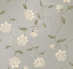 Stencil Peony Allover Floral Pattern Wall by CuttingEdgeStencils