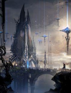cyberpunk, fantasy castle by jcircle - park jong won - CGHUB Fantasy Anime, Fantasy City, Fantasy Castle, Fantasy Places, Fantasy Setting, Fantasy Landscape, Sci Fi Fantasy, Fantasy World, Landscape Art