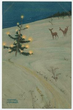 Christmas tree and deer in a field, from the series Christmas pictures | Museum of Fine Arts, Boston