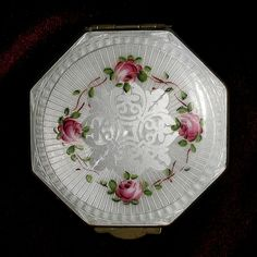 Finberg Silver Octagonal White Guilloche Enamel Compact with Rose Floral Design