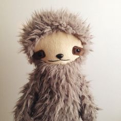 Kawaii Sloth Stuffed Animal Plushie in Gray by bijoukitty on Etsy