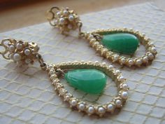 Vintage Drop Earrings set with Faux Pearls and by LincaraVintage, $27.00