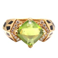 CARTIER Paris Diamond Peridot Panther Spot Gold Ring | From a unique collection of vintage cocktail rings at http://www.1stdibs.com/jewelry/rings/cocktail-rings/