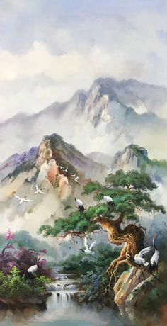 Painting canvas oil wall decor Super Ideas – Keep up with the times. Chinese Landscape Painting, Landscape Drawings, Japanese Painting, Watercolor Landscape, Japanese Art, Chinese Painting, Fantasy Art Landscapes, Fantasy Landscape, Landscape Art