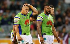 Raiders players look dejected after an Eagles try during the round eight NRL match between the Canberra Raiders and the Manly Sea Eagles at GIO Stadium on April 21, 2017 in Canberra, Australia.