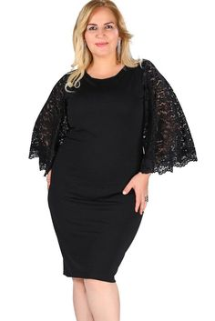4a0b8b0a84404 Black Lace Bell Sleeves Plus Size Bodycon Dresses Evening Cocktail