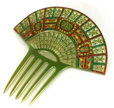 Wonderful Art Deco Eygptian Revival Comb of clear celluloid overlaid with green. The design is then pierced, overpainted and set with pave stones in red and green. Vintage Hair Combs, Vintage Hair Accessories, Hair Jewelry, Fashion Jewelry, Art Deco Hair, Hair Ornaments, Vintage Hairstyles, Hair Pins, Headbands
