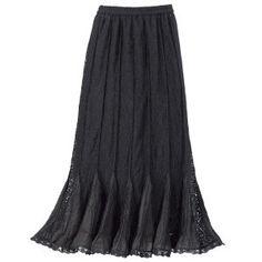 Godet Maxi Skirt - Women's Clothing & Symbolic Jewelry – Sexy, Fantasy, Romantic Fashions - Black 1X