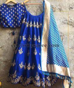 Zardosi Work Half Sari in Blue