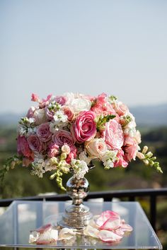 #Pink #Centerpiece | See the wedding on SMP: http://www.StyleMePretty.com/california-weddings/rutherford/2014/01/24/glam-auberge-du-soleil-destination-wedding/ Photography: Vero  Suh