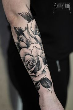 Roses tattoo forearm by Family Ink