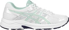 Asics, GEL-Contend 4 in White/Bay/Silver, $70